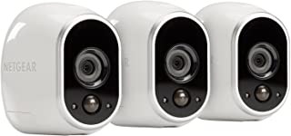 NETGEAR Arlo by Security System 3 Wire-Free HD Camera Kit, Indoor/Outdoor Compatible with Alexa with Night Vision, White (Renewed)