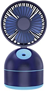 Zzrp Humidifier Fan Humidifier Air Humidifier Small Fan Spray Fan USB Rechargeable Student Desk Small Fan,Blue