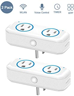 OUKITEL WiFi Plug, Dual Mini Outlets Design Smart Socket Compatible with Alexa Echo, Google Home & IFTTT, Remote Control, Timer, no hub Required, ETL Listed-2 Pack (blue)