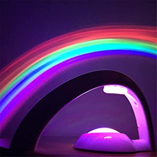 Rainbow Projector, Two Power Supply Projection Lamps, 10 Minutes Automatic Turn Off Led Lights Curved Colorful Night Light, ABS Safe and Durable