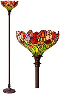 HT Tiffany Styled Torchiere Floor Lamp, 14 inch Wide 2-Light Double Lit Tulip Stained Glass Shade Antique Base, Decor for Dining Room Living Room Bedroom Reading