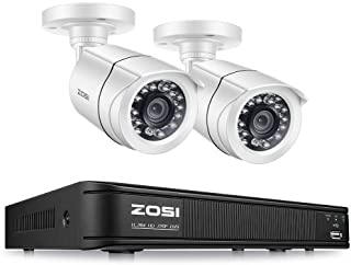 ZOSI 720P 4 Channel Home Surveillance Camera System,1080N Security DVR 4 Channel and (2) 1.0MP 720P(1280TVL) Weatherproof Bullet Camera Outdoor/Indoor (No Hard Drive)