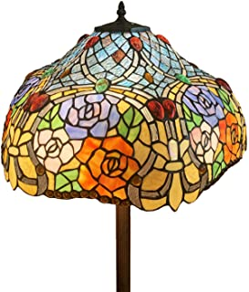 HT Tiffany Styled Mission Floor Lamp, 18 inch Wide 2-Light Rose Stained Glass Shade Antique Base, Decor for Dining Room Living Room Bedroom Reading