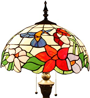 Tiffany Style Floor Standing Lamp Wide 16 Tall 64 Inch Stained Glass Hummingbird Design Shade 2 Light Antique Base for Bedroom Living Room Reading Lighting Table Set S101 WERFACTORY