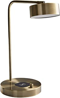 Stone & Beam Modern Wireless Charging Round Task Lamp With Integrated LED Light - 7.5 x 10 x 18.5 Inch, Antique Brass