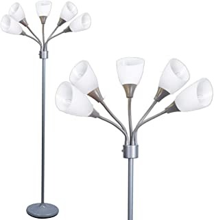 Modern Floor Lamp Room Light by Lightaccents - Medusa Multi Head Standing Lamp Bedroom Light with 5 Positionable White Acrylic Reading Shades Room Light (Grey)