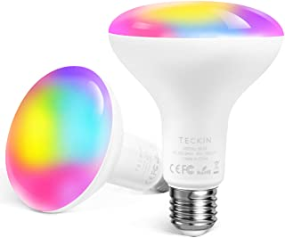 Smart Light Bulb WiFi Light Bulbs,TECKIN 13W E27 RGBCW Multicolor Dimmable LED Color Changing Light Bulb Equivalent 100W,1300LM BR30 Compatible with Alexa and Google Home IFTTT 2900K-6000K 2 Packs