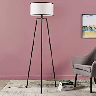 Versanora VN-L00050 Baker Floor Lamp-White with Black Border Shade