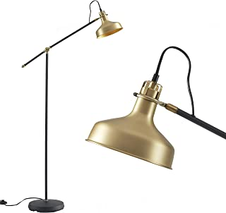 Ambiore Floor Lamp with Complimentary Bulb Levy - Mid-Century Distinguished Indoor Task Light for Living Room and Bedroom - Artistic Pharmacy Lamp with Black Finish & Brass Shade - Black & Brass