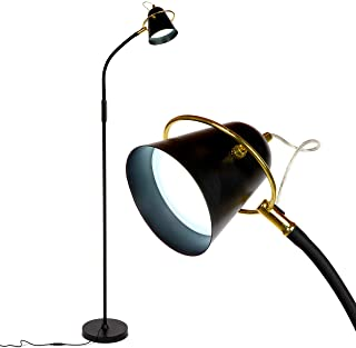 Brightech Zoey - LED Reading, Craft & Task Floor Lamp - Dimmable & Light Color Adjustable with Touch Switch- Standing Bright Light with Memory Function - For Living Room Or Office Tasks - Black