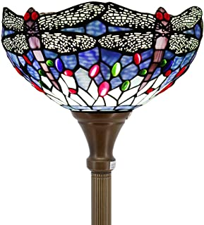 Tiffany Style Torchiere Light Floor Standing Lamp Wide 12 Tall 66 Inch Blue Stained Glass Crystal Bead Dragonfly Lampshade for Living Room Bedroom Antique Table Set S004 WERFACTORY