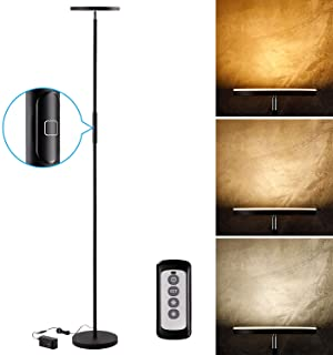 LEONLITE 30W LED Torchiere Floor Lamp, 2400lm, Adjustable 3000K Warm White/4000K Cool White/5000K Daylight, Dimmable 69 Inch Tall Standing Modern Pole Light for Living Rooms, Offices, Bedrooms