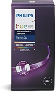 Philips Hue LightStrip Plus Dimmable LED Smart Light Extension (Requires Lightstrip Base & Hue Hub, Works with Alexa, HomeKit & Google Assistant)