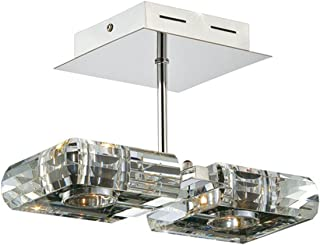 Kendal Lighting HSF18002-CH Optica Collection Semi-Flush, Chrome Finish with Optic Crystal Shades