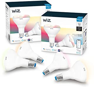 WiZ IZ20087584 65 Watt EQ BR30 Smart WiFi Connected LED Light Bulbs/Compatible with Alexa and Google Home, no Hub Required, RGB+ Color Changing/Tunable/Dimmable, 4 Piece (Renewed)