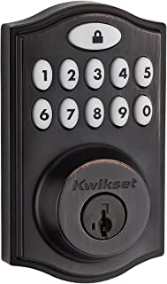 Kwikset 99140-008 SmartCode 914 Keypad Keyless Entry Zigbee Smart Lock Connected Deadbolt Door Lock Featuring SmartKey Security in Venetian Bronze
