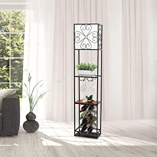 Elegant Designs LF1021-BLK Etagere Organizer Wine Rack Floor Lamp, Black