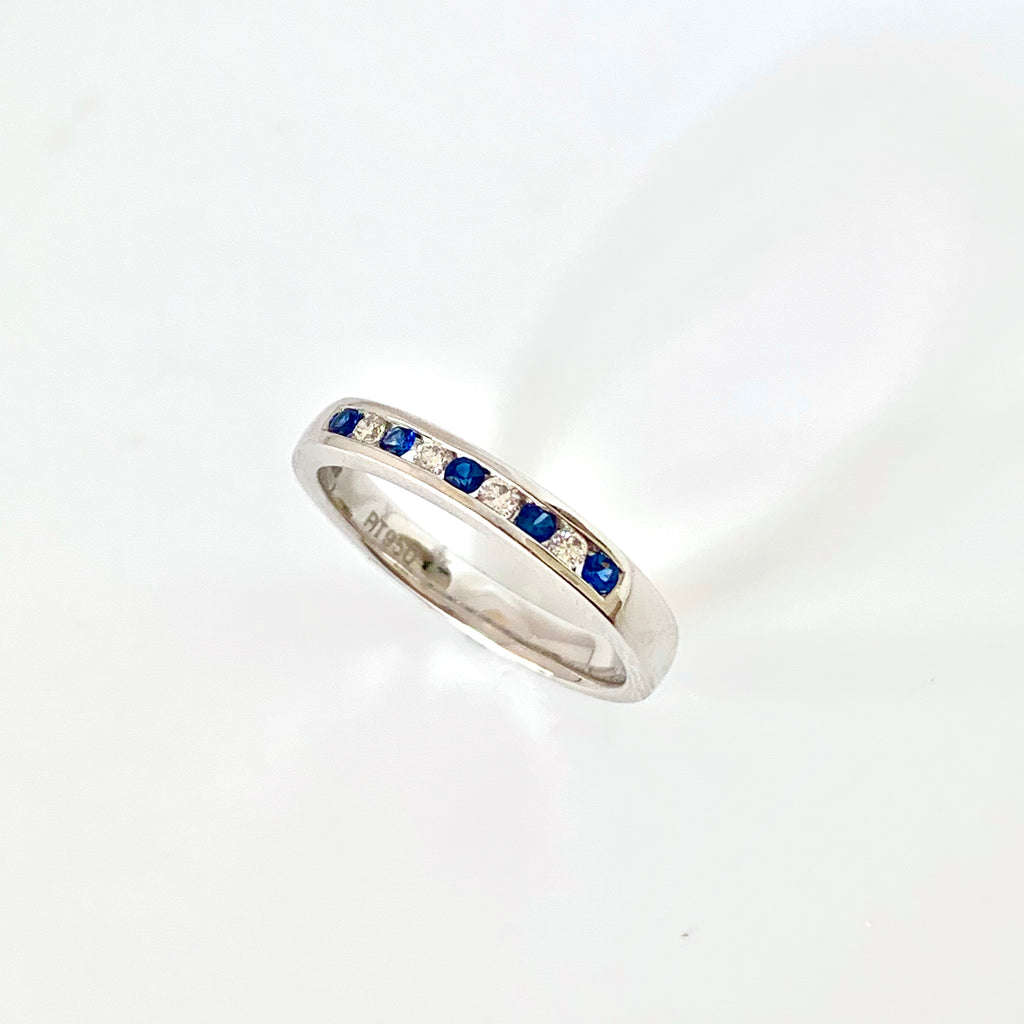 PLATINUM SAPPHIRE DIAMOND ETERNITY RING