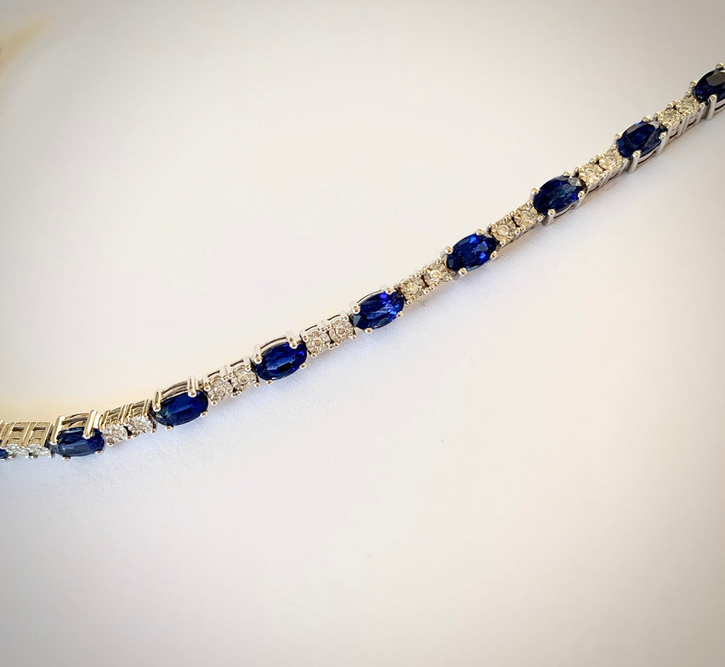 SAPPHIRE AND DIAMOND 18CT WHITE GOLD BRACELET