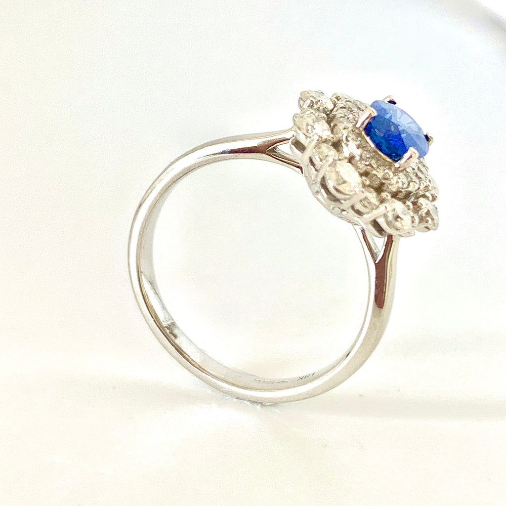 SCINTILLATING SAPPHIRE DIAMOND HALO RING