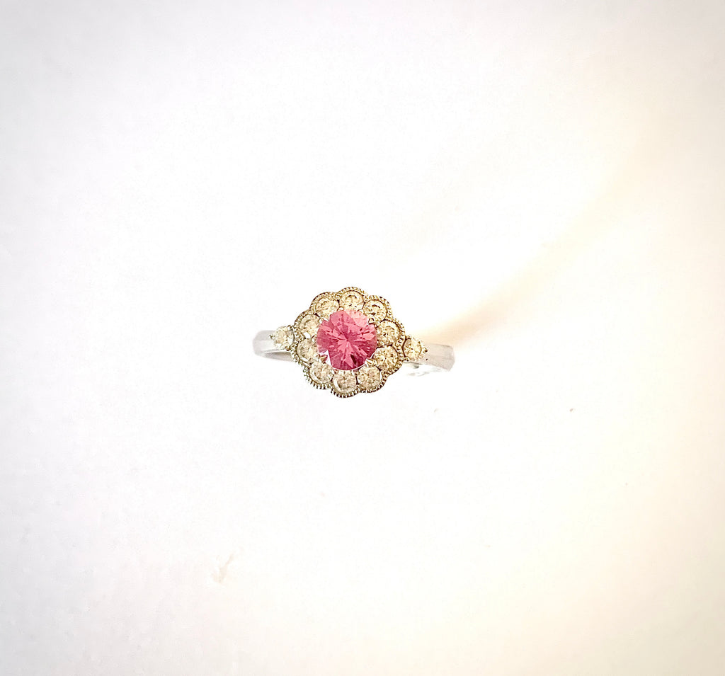 PINK SAPPHIRE AND DIAMOND 18CT RING