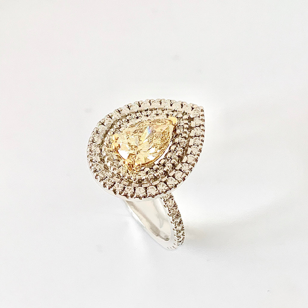 STUNNING NATURAL YELLOW DIAMOND 90PT PEAR SHAPE RING