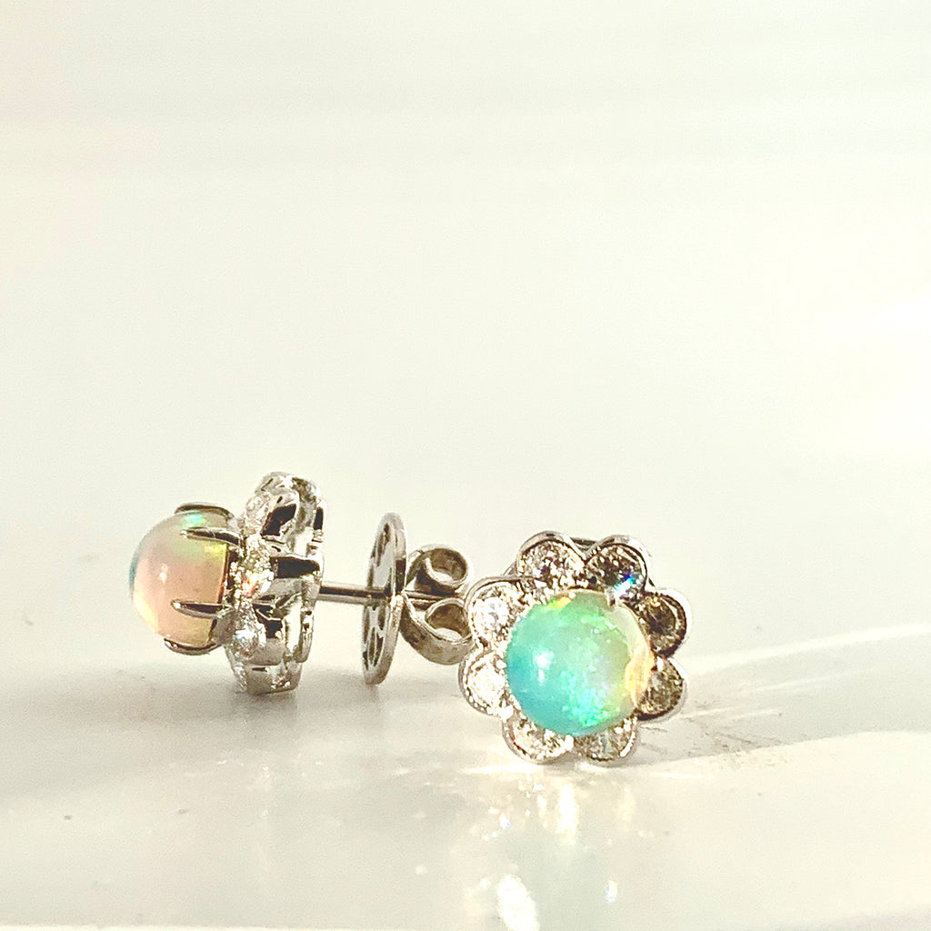 OPULENT OPAL AND DIAMOND CLUSTER EARRINGS