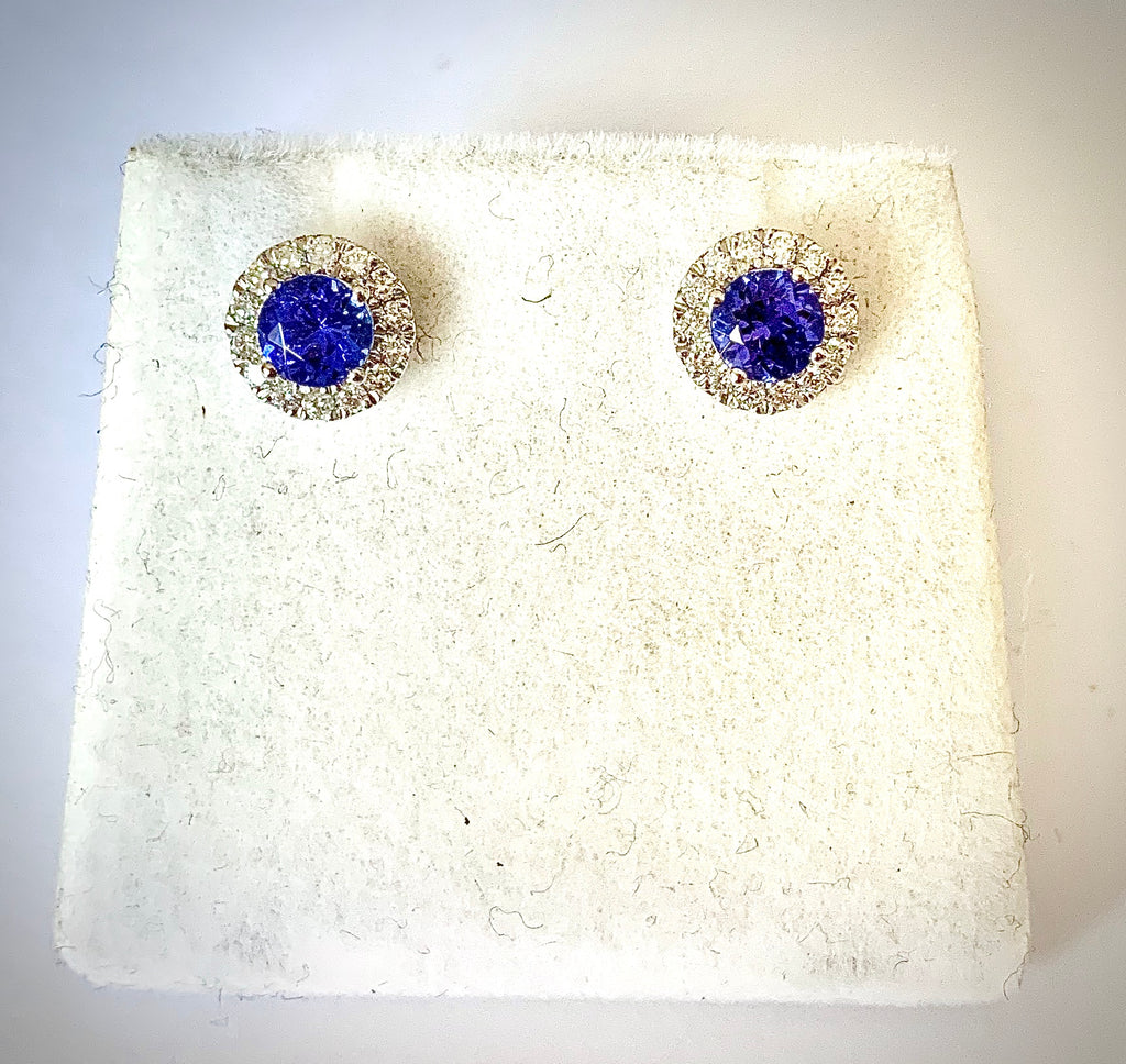 TANZANITE AND DIAMOND HALO STUD EARRINGS