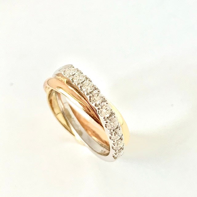18CT THREE COLOUR GOLD X OVER DIAMOND RING