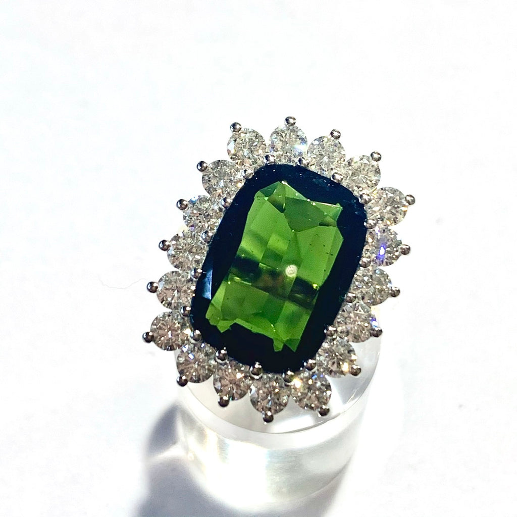 18CT GREEN TOURMALINE AND DIAMOND CLUSTER