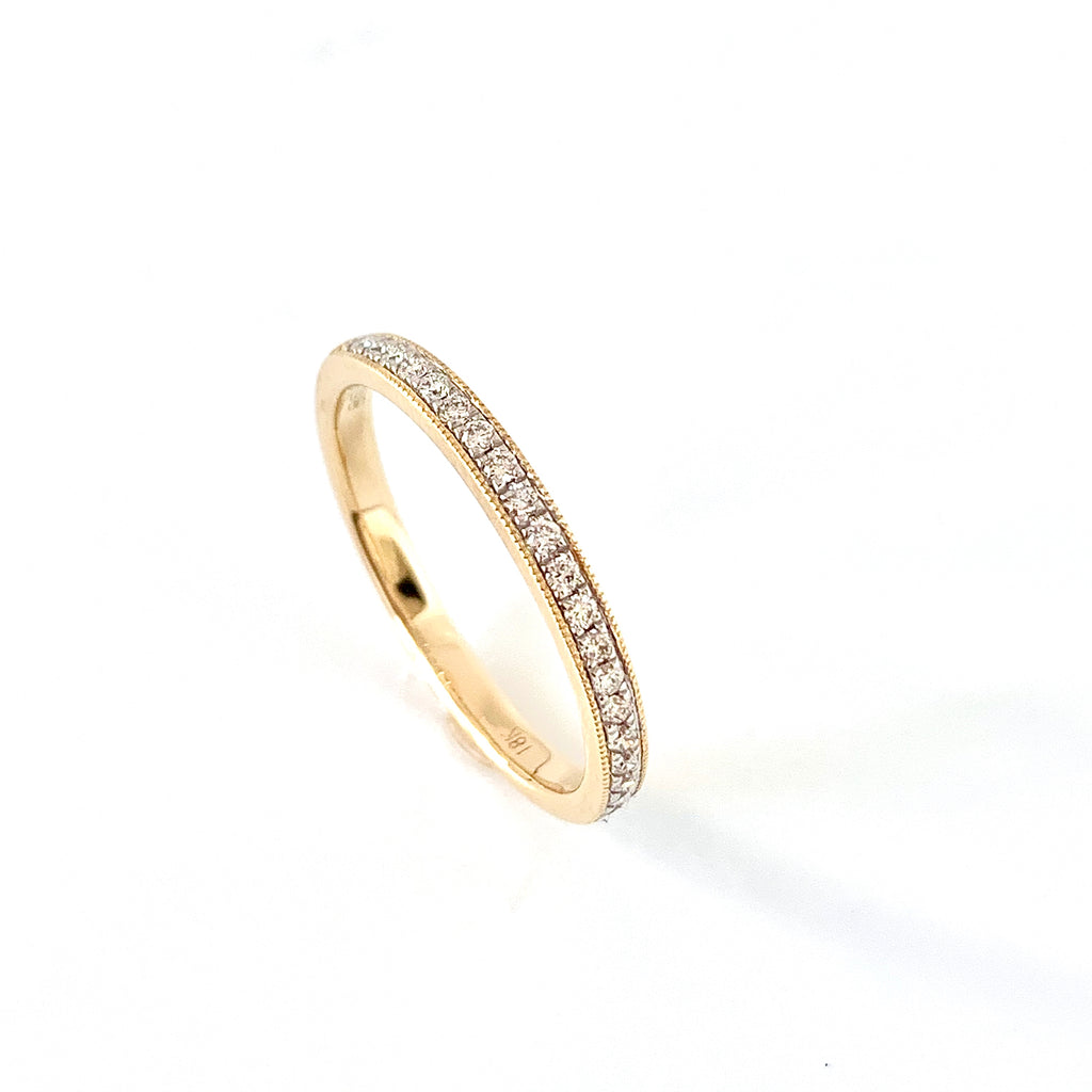 VERY SLIM 18CT YELLOW DIAMOND WEDDING RING