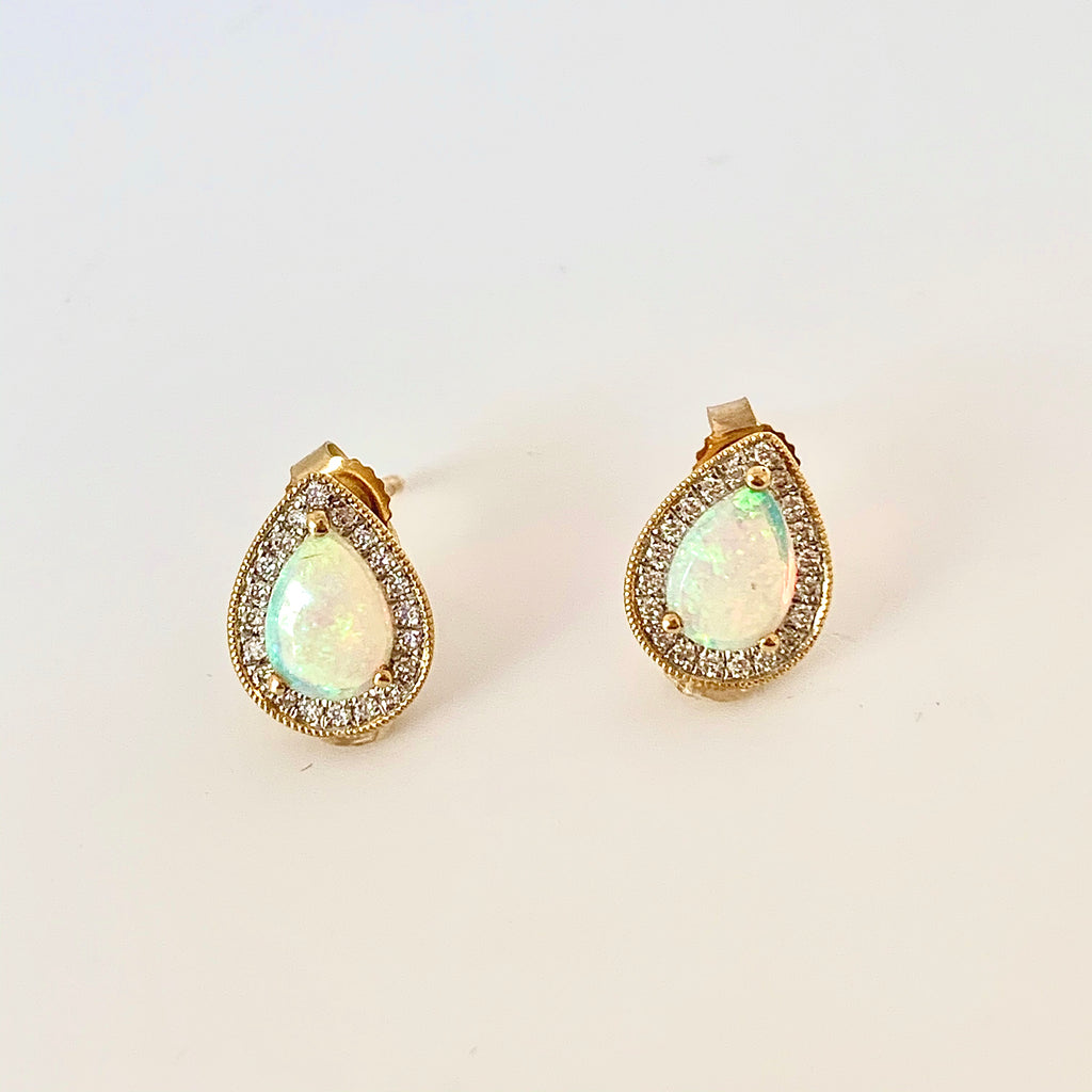 18CT YELLOW GOLD OPAL AND DIAMOND STUD EARRINGS