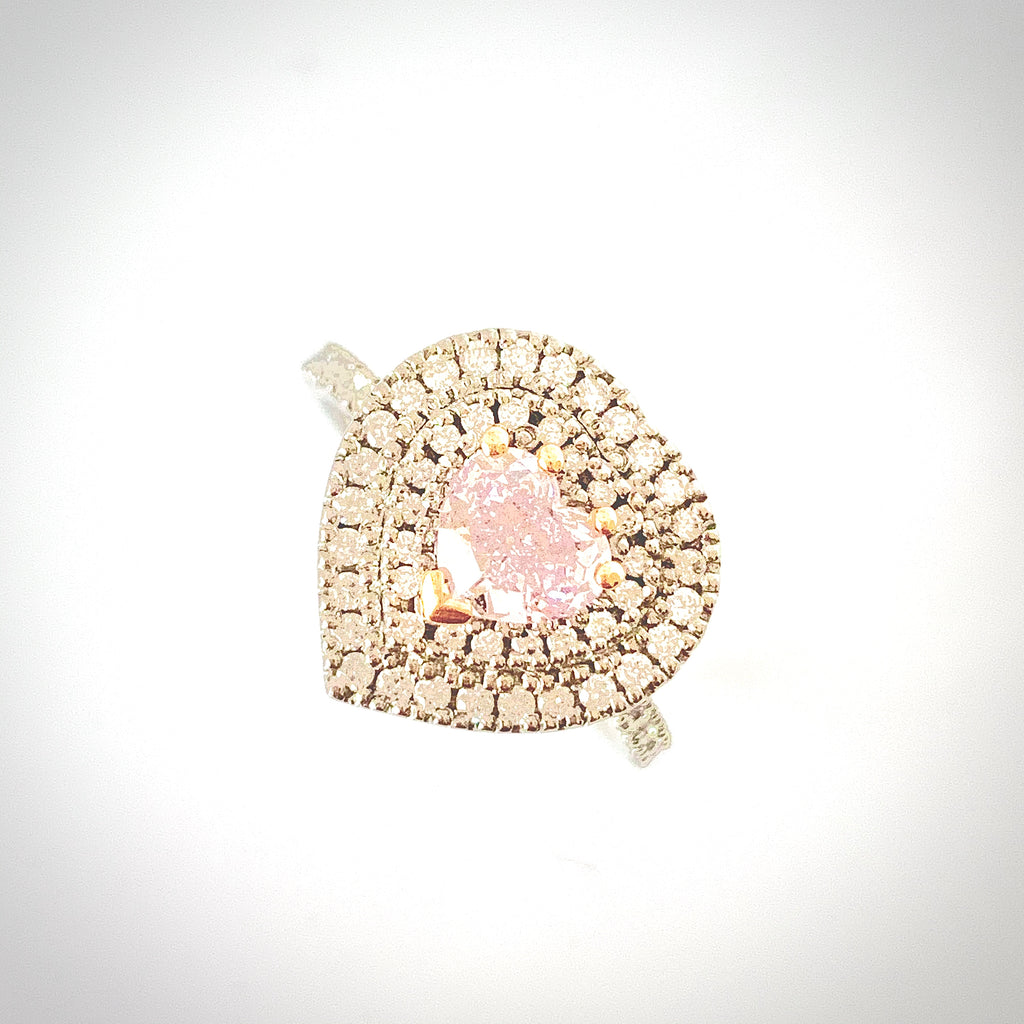 PLATINUM NATURAL PINK DIAMOND HEART RING