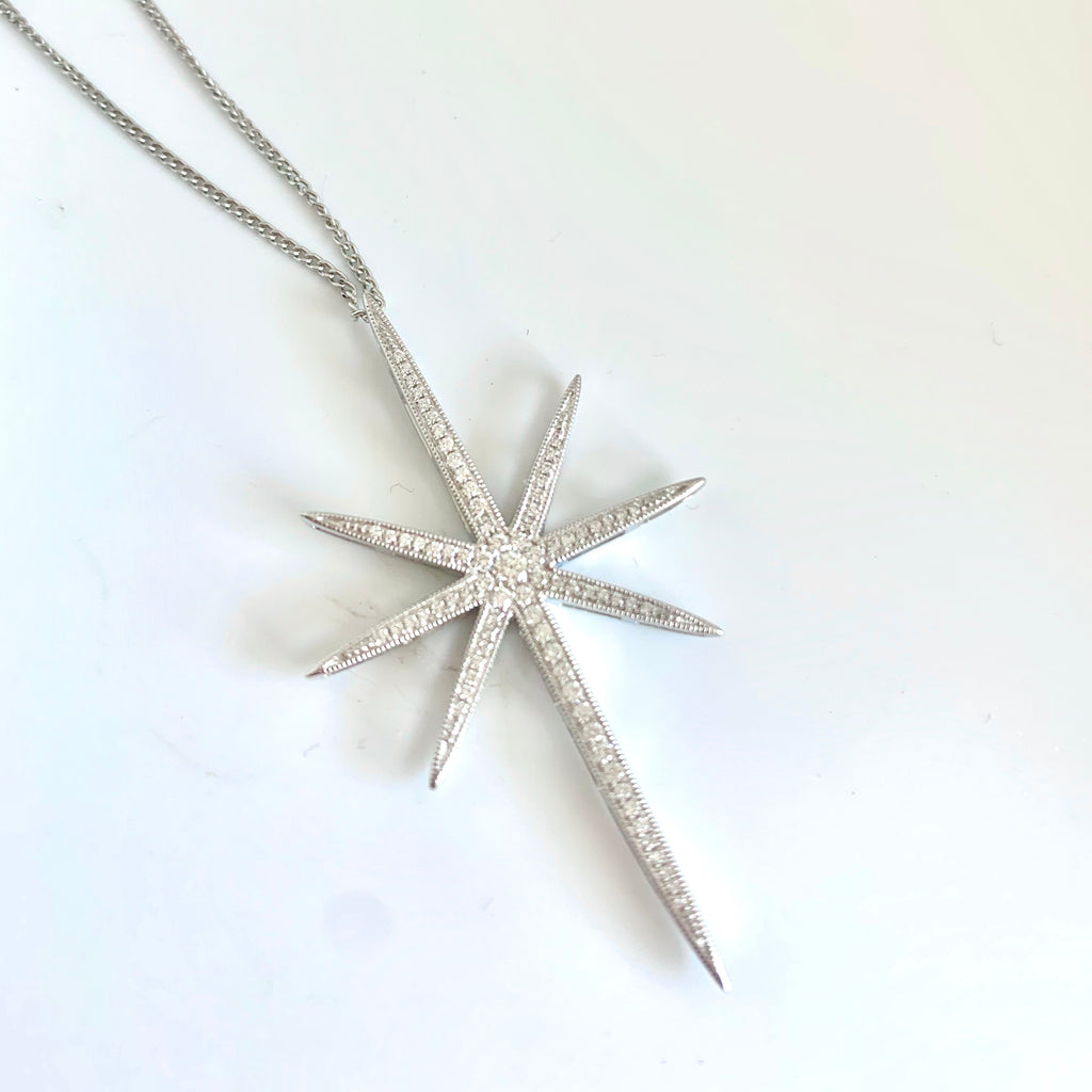 18CT WHITE GOLD NORTH STAR DIAMOND PENDANT