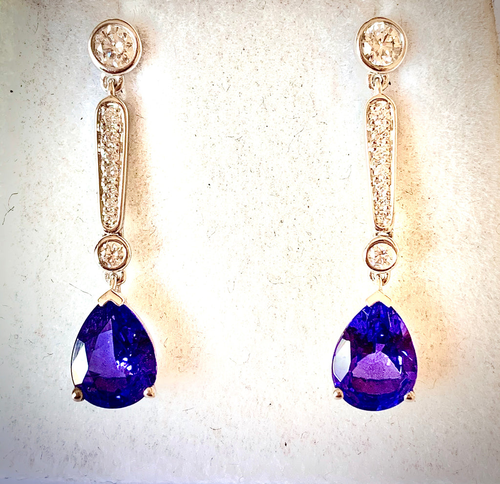 RED CARPET TANZANITE AND DIAMOND DROPPER EARRINGS