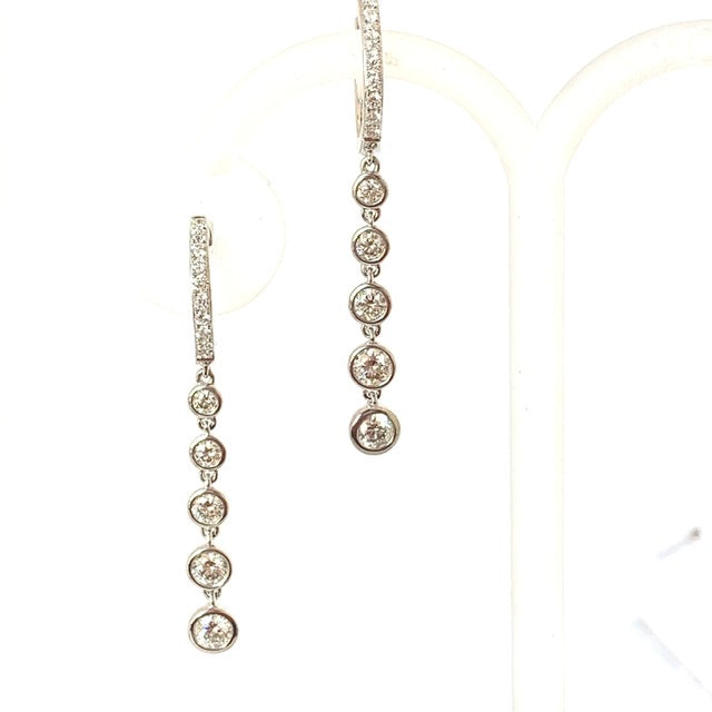 18CT WHITE GOLD 1.20CT DIAMOND DROP EARRINGS
