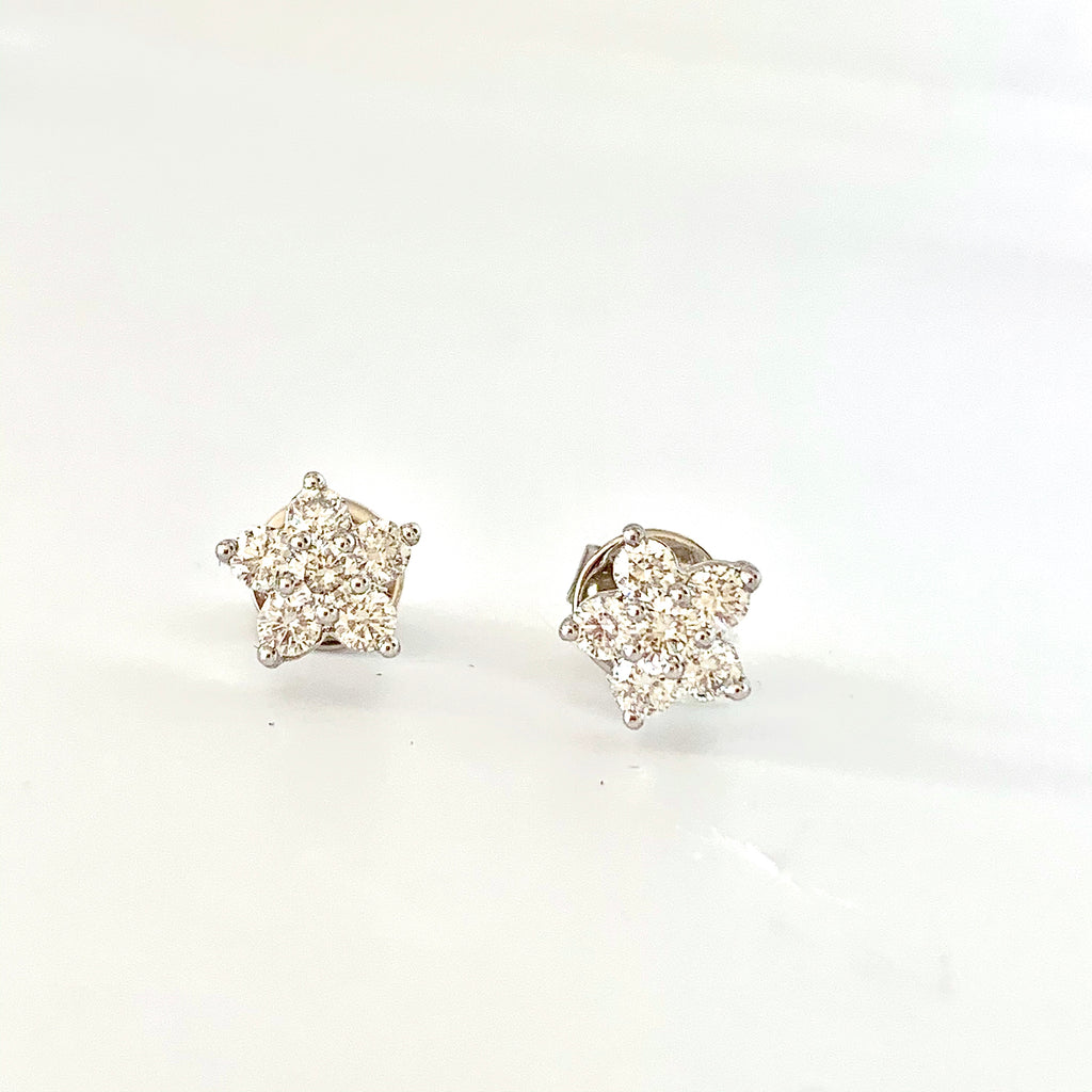 PLATINUM DAISY CLUSTER DIAMOND  STUD EARRINGS