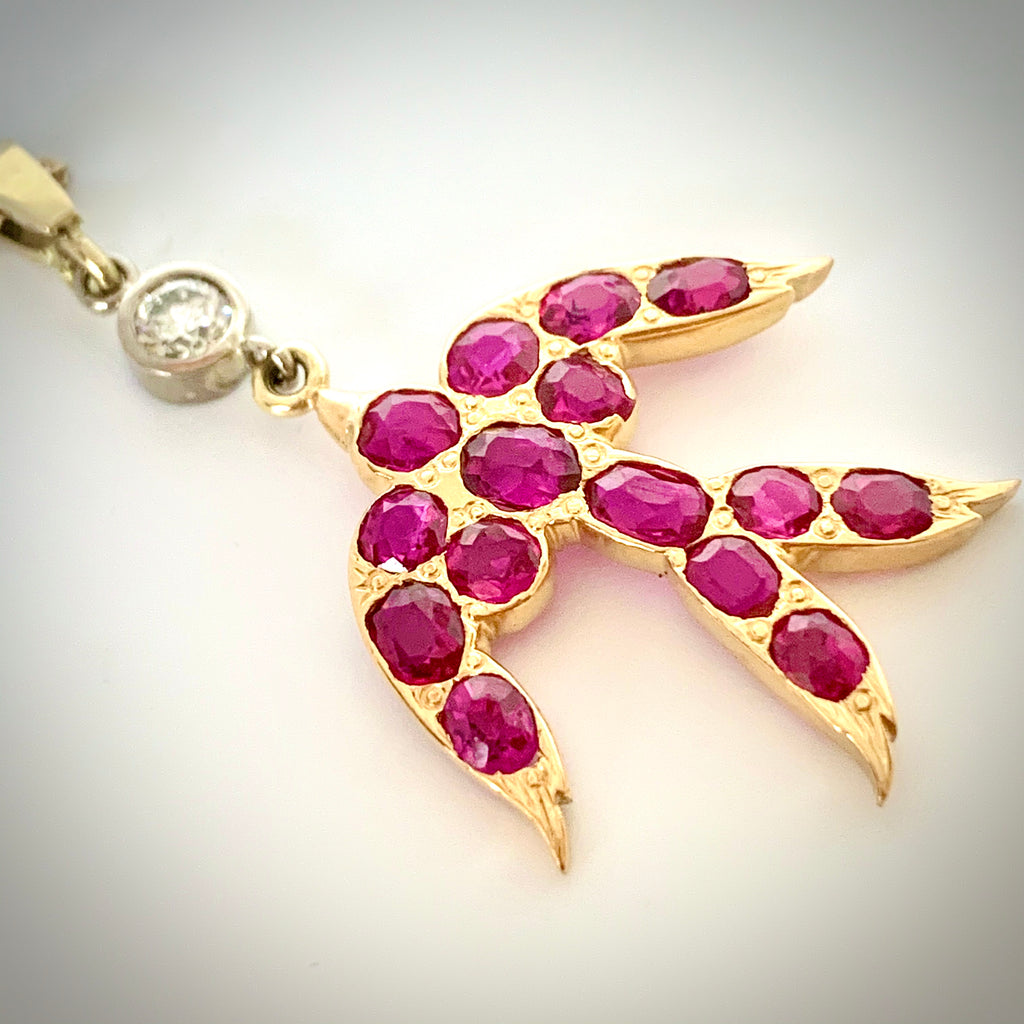VINTAGE HAND MADE NATURAL RUBY AND DIAMOND SWALLOW PENDANT