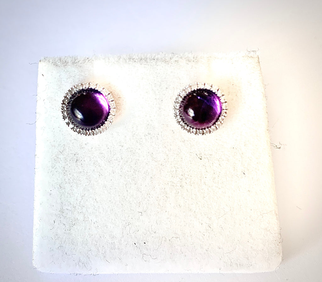 AMETHYST AND DIAMOND HALO STUD EARRINGS IN ROSE GOLD
