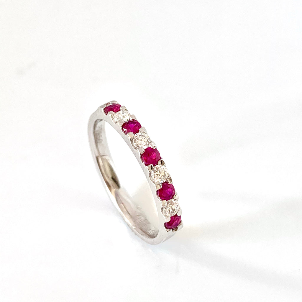 PLATINUM RUBY DIAMOND ETERNITY RING