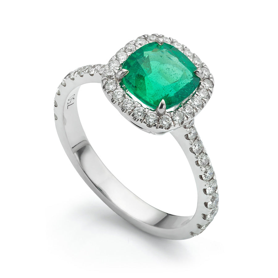 Zambian Emerald and Diamond Halo Ring