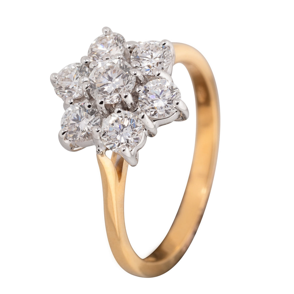 18CT DIAMOND FLOWER CLUSTER RING 1.50CTS