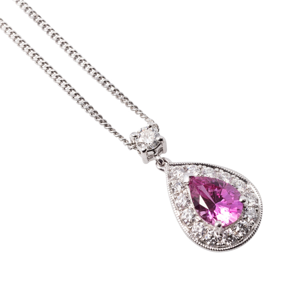 18CT WHITE GOLD PINK SAPPHIRE AND DIAMOND PENDANT
