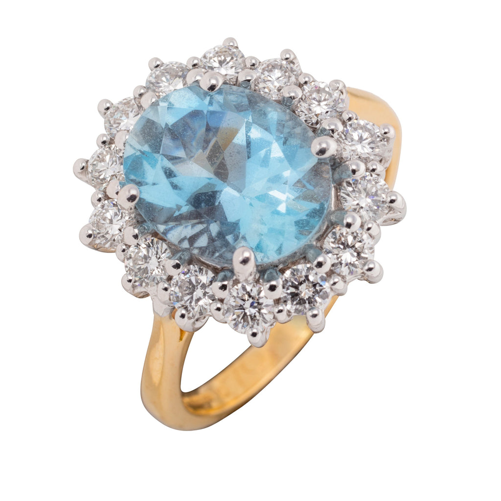 18CT AQUA AND DIAMOND CLUSTER RING