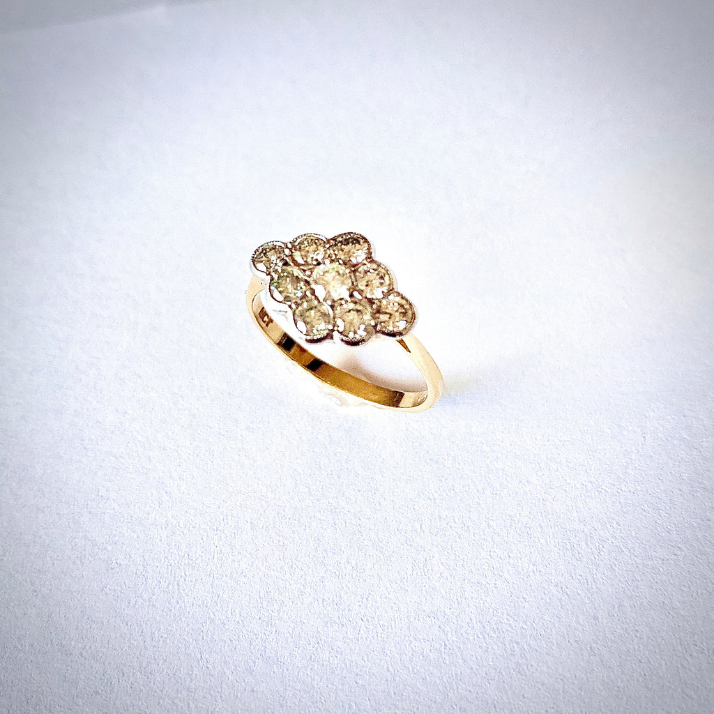VINTAGE 1.00CT DIAMOND CLUSTER RING