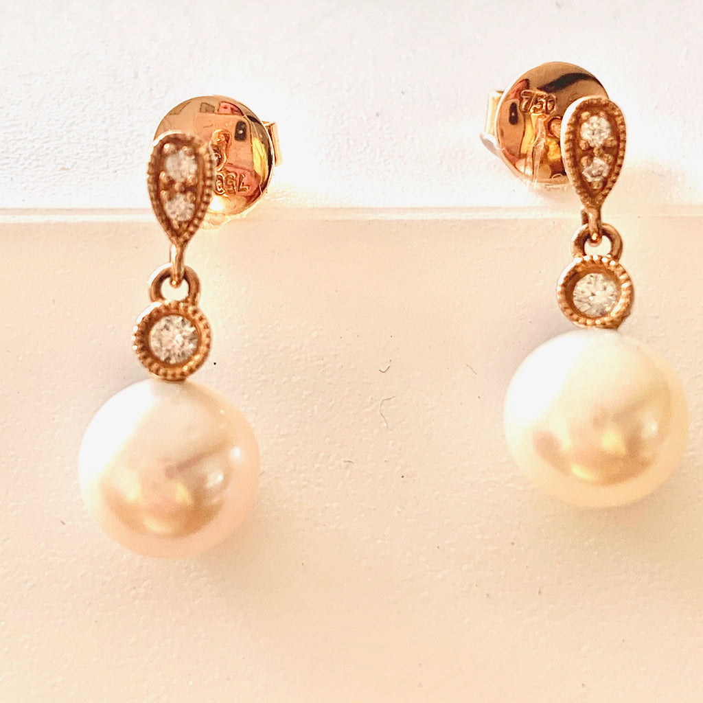 18CT ROSE GOLD CULTURED PEARL AND DIAMOND DROP EARRINGS
