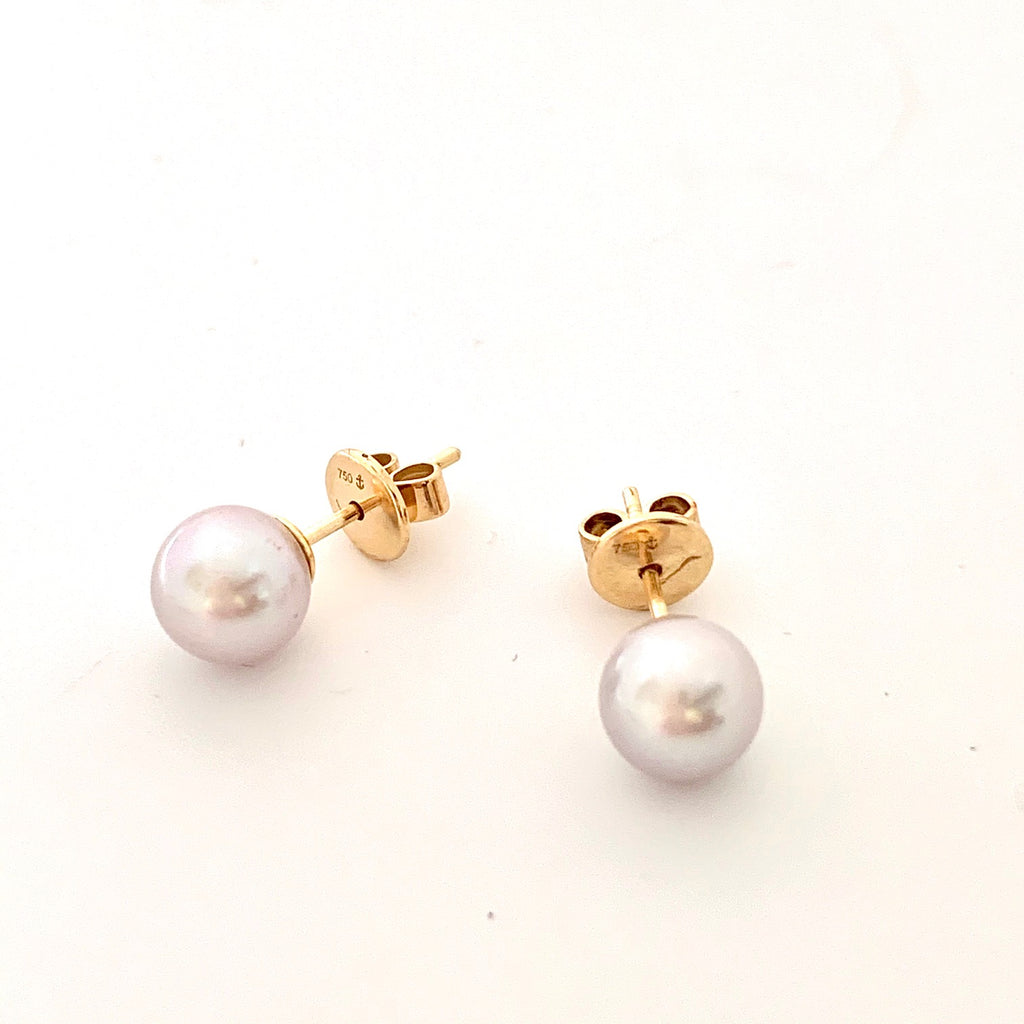 18CT GOLD CULTURED 7.5MM GREY PEARL STUD EARRINGS