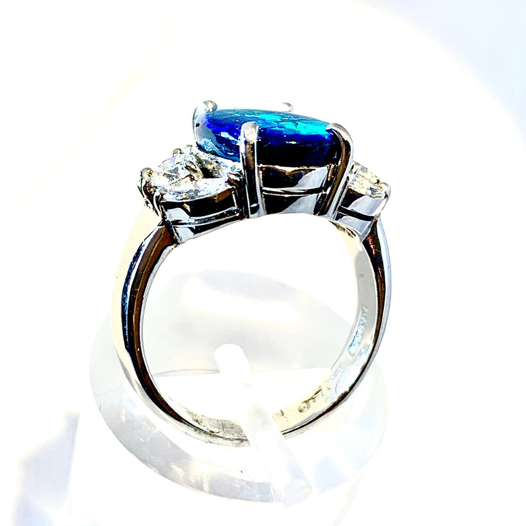 PLATINUM VINTAGE BLACK OPAL MARQUISE DIAMOND RING
