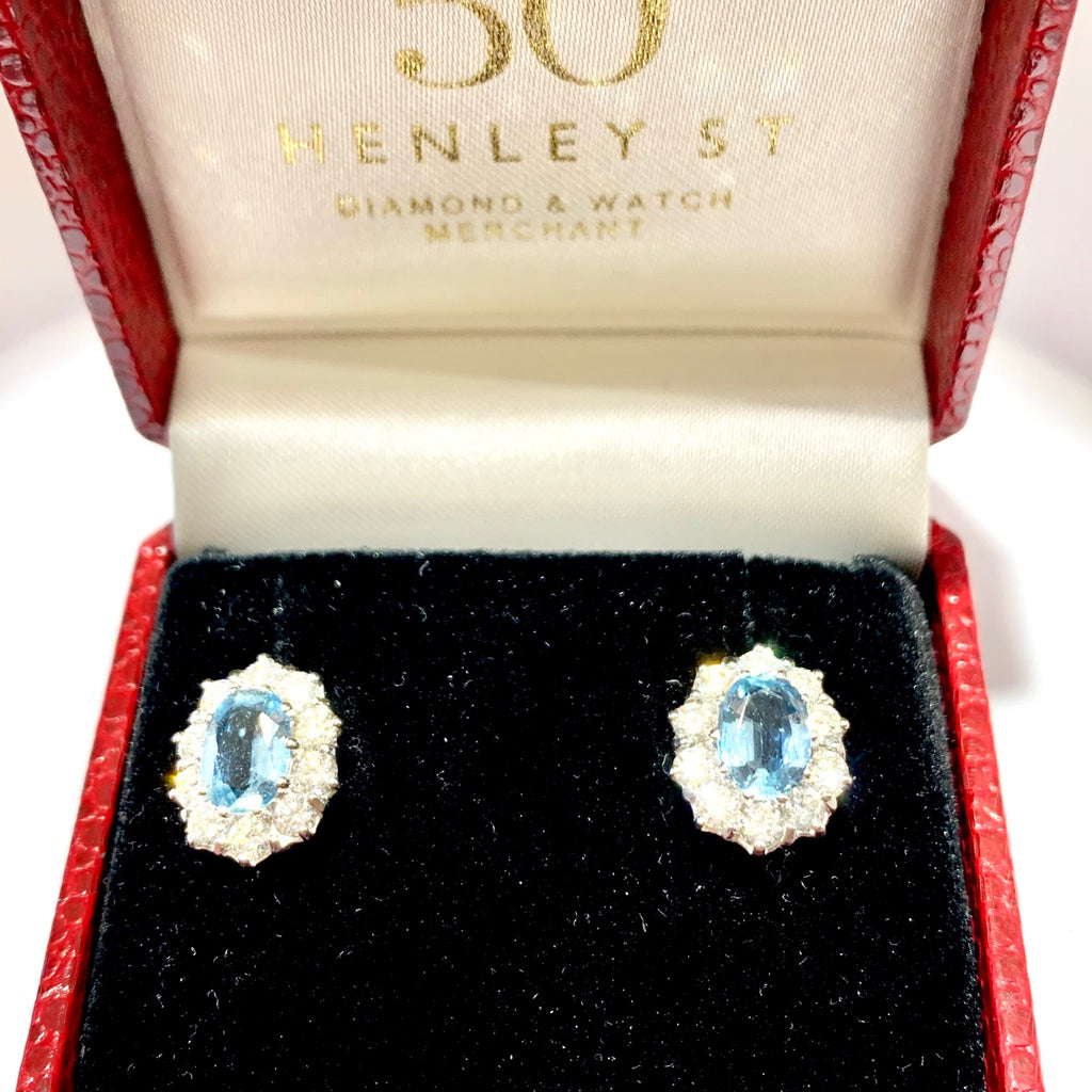 18CT WHITE GOLD AQUAMARINE & DIAMOND OVAL CLUSTER EARRINGS