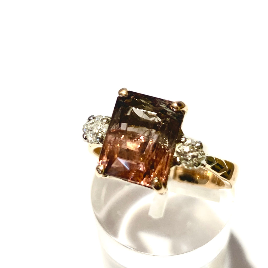 HANDMADE 18CT COLOUR CHANGE TOURMALINE AND DIAMOND THREE STONE RING